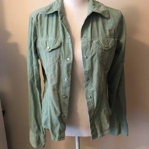 Periscope Green corduroy button up shirt